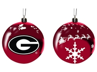Georgia Bulldogs Sled Glass Ball Ornament