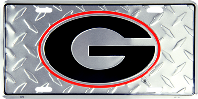 UGA Silver Diamond Cut License Plate