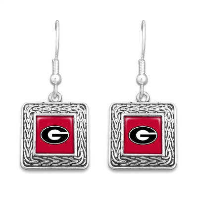 Georgia Bulldogs Geometric Square Earrings