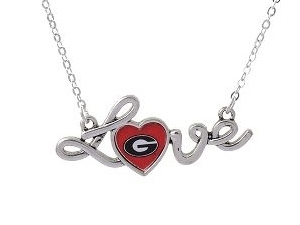Georgia Bulldogs Love Script Red Heart Silver Necklace