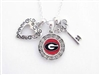 UGA Tri-Charm Silver Necklace
