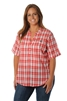 UGA Women's Short Sleeve Plaid Top