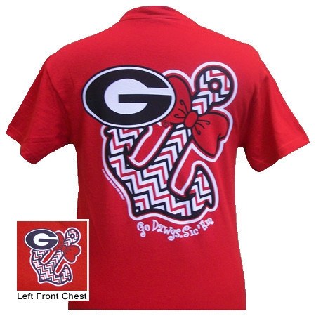 0fb8ae91044b Georgia Anchor Bow Tie T-Shirt   UGA Girl's T-Shirt   Georgia T-Shirt